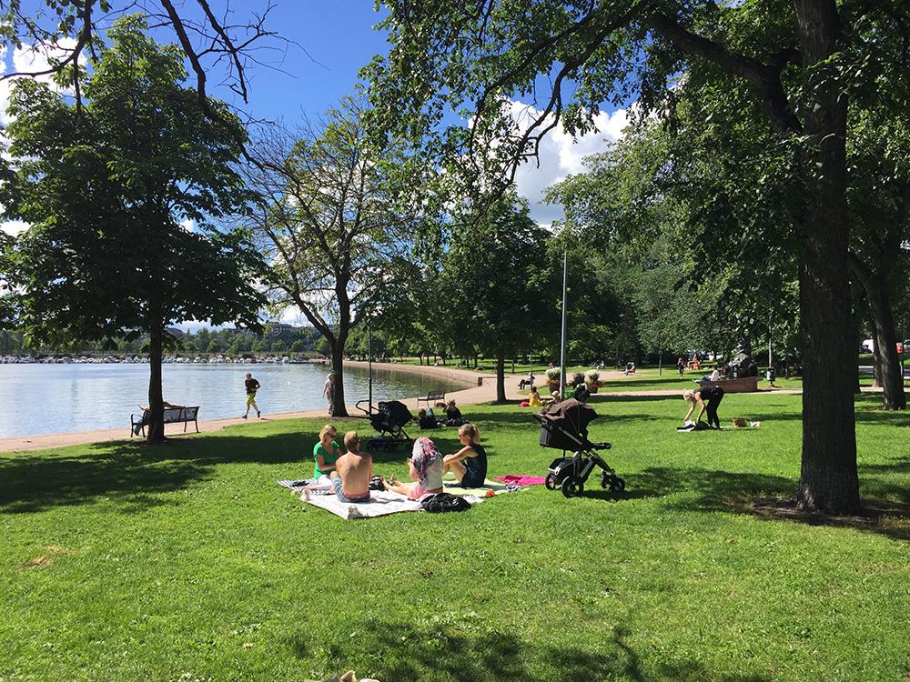 公園でピクニックするフィンランドの人たち